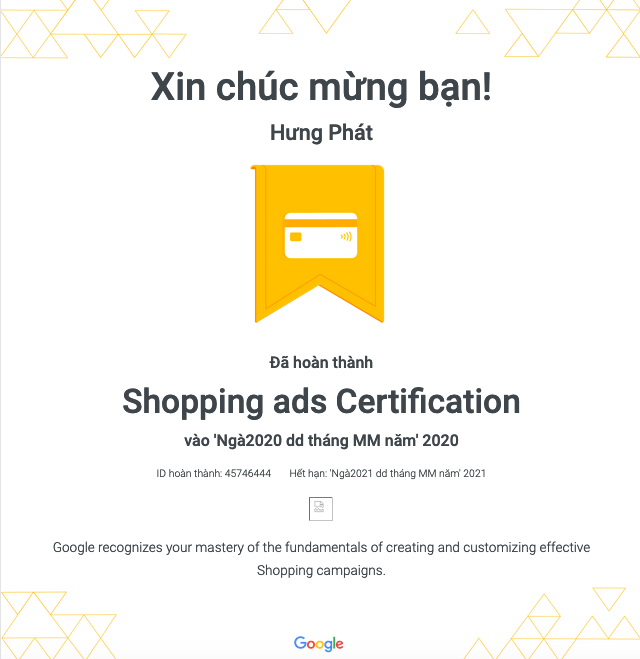giay chung nhan google shopping