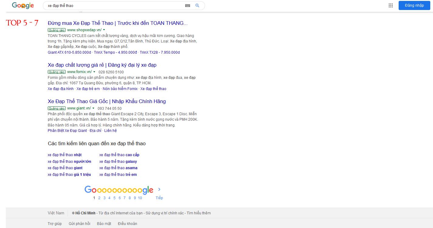 quảng cáo google top 5 - 7